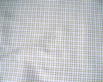 Small Check, Suiting Fabric,  Polyester Rayon, Spandex Stretch, De-stash Material, Gray Black White Green Check