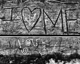 I Love Me/romance/Minneapolis/wooden bench/love/Stone Arch Bridge/urban photography/black and white/valentine