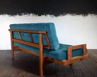 Mid Century Reupholstered Teal Velvet Sofa