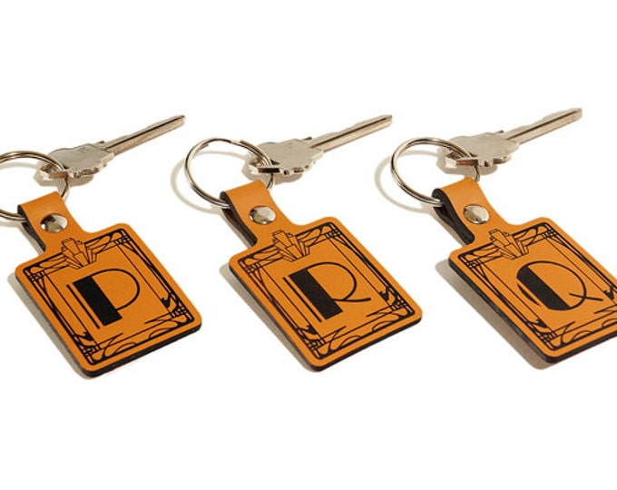 "ART DECO KEYRING – Initial ""Q"" Key Fob – Laser Engraved Leather Keychain"