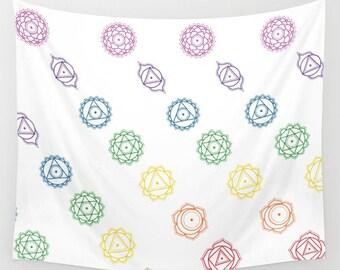 White Rainbow Chakra Pattern Tapestry - 3 Sizes