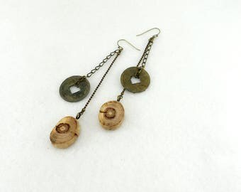 Dangling long earrings, wooden rounds and metallic coins