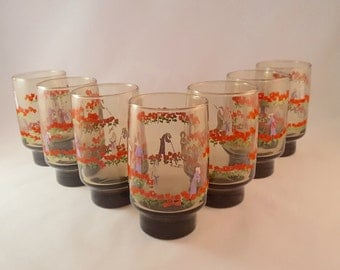 Libbey Asian Themed Smoke Glasses by D. Cheviot - Set of 7