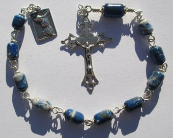Tenner No. 11 Blue Chilean Lapis in Silver Filled (Single Decade Rosary)