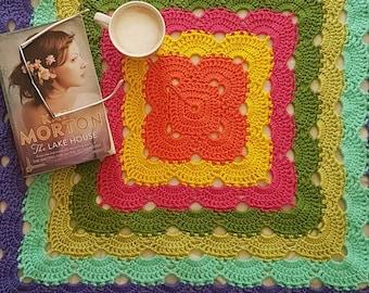 Crochet blanket-crochet floor rug-colourful crochet rug-acrylic wool rug-acrylic wool throw rug-afghan throw