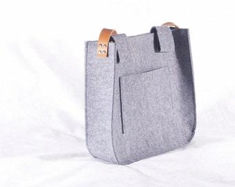 Grey felt Messenger Bag, Felt tote big size, for shopping, school, genuine leather handles, tote bag, tote felt