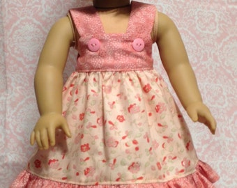 "Doll Dress in multi color fabric  with contrasting ruffle- fits 18"" dolls like American Girl"