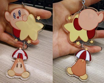 Kirby of the Stars / Hoshi no Kaabii - Double Sided 2-piece Keychain - Nintendo Kirby and Parasol Waddle Dee **PRE-ORDER**