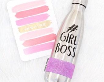 Girl Boss - #GirlBoss // Glitter Stainless Steel Water Bottle - Metal Water Bottle -Thermal Water Bottle