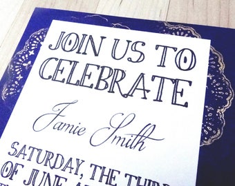 Blue and Bronze Wedding Shower Invitation | Navy and Bronze Shower Invitation | Doily Invitations | Handmade Navy Blue and Bronze Invites