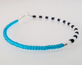 Minimal bracelet | black & white stripes with blue - silver plated clasp - minimalistic jewelry