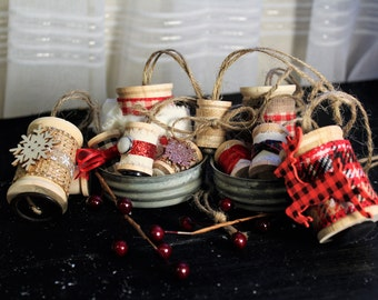 Rustic Spool Christmas Ornaments - Reds