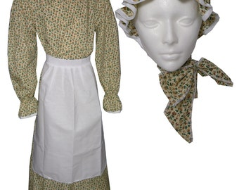 Prairie Dress Girl Child Book Report Costume Calico Print (Includes Dress, Apron & Hat) 1223 ORIGINAL COLOR