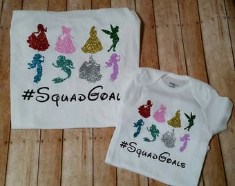 Princess squad goals woman's kids toddler t-shirt or baby bodysuit.