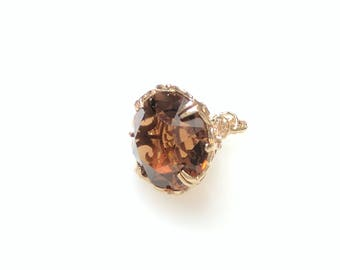 9ct Gold Citrine Fob Charm