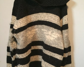 Vintage handknit wool cowichan sweater xl shane thunderbird pullover
