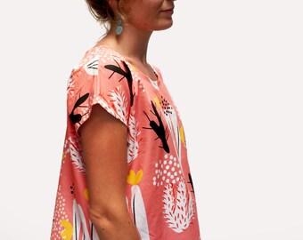 Peach Cactus Bloom 100% cotton ladies sleeve top