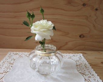 Vintage Glass Flower Frog or Potpourri Holder * Made in England