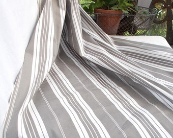 Length of Superb Grey & White Stripe Ticking Fabric.  Vintage French 1930's excellent.