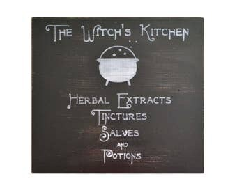 The Witch's Kitchen, Handmade painted wooden sign, pagan home decor, wiccan wall decor