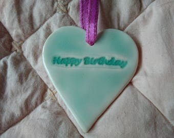 Porcelain Hanging heart - with Happy Birthday
