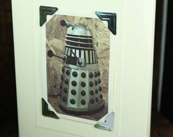Greetings card decorated with vintage 1976 Doctor Who Typhoo Card #7 - Dalek