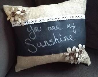 Burlap Pillow, Burlap Chalkboard Pillow