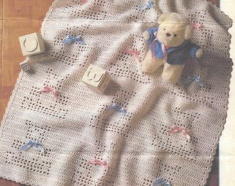 Vintage Crochet Teddy Afghan for Baby blanket instant download crochet pattern