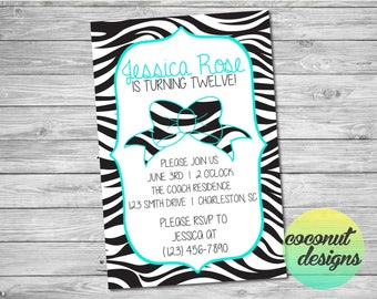 Zebra Print Birthday Invitation / Zebra Birthday Invite / Zebra Bow Birthday Invitation / Sleepover Birthday Invitation / Digital File