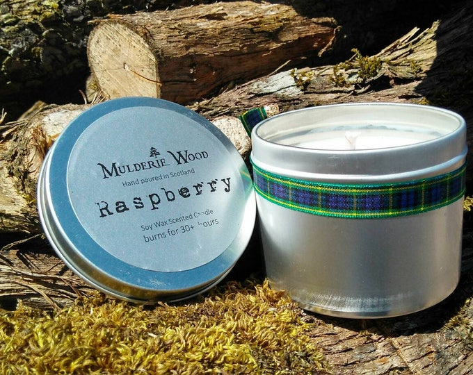 Featured listing image: Scottish Raspberry Scented Natural Soy Wax Handmade in Scotland Tin Candle