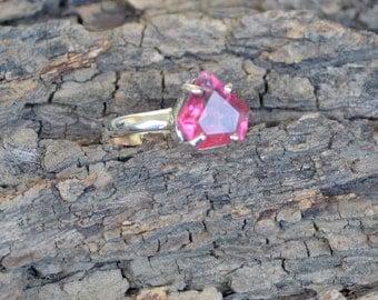 Natural Pink Tourmaline Gemstone 925 Sterling Silver Ring Size 6, Handmade Artisan Ring Jewelry,  Tourmaline Gemstone Ring 6