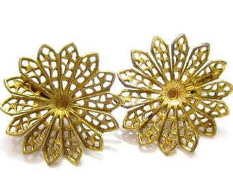 Vintage Old Stock Haskell Style Filigree Base Flowers 4 Beaded Jewelry*Clip-On Earrings*A416