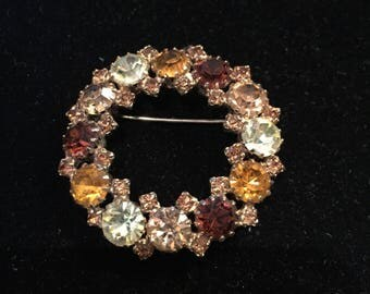 Rhinestone Brooch {Karu Arke Inc} Gold Round Setting with Brown/Mint/Orange/Champagne Rhinestones / Wreath Brooch, circa 1950s