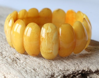 Butterscotch amber bracelet, antique egg yolk color amber, amber jewelry, organic bracelet, nature amber bracelet, natural Baltic amber