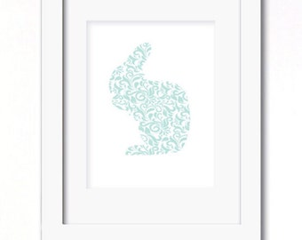 A4 shabby chic rabbit blue floral print avaiable in 2 designs