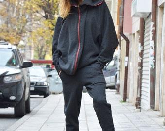 Extravagant Asymmetric Dark Grey Sweatshirt, Double Zipper Front, Sports Jacket, Oversize Sweatshirt by SSDfashion