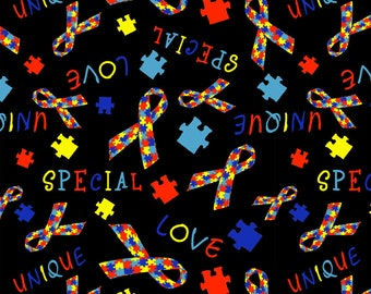 Autism Awareness Stretch Cotton Woven, Autism Awareness Products, Autism Awareness Ribbon, Autism Fabric, Autism Fabric Ribbon, Fabric