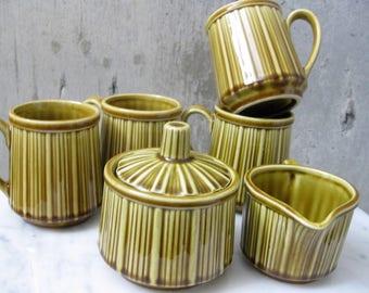 Vintage Coffee Set Ceramic Porcelain Japan 1960s Mid Century Modern Caramel Color