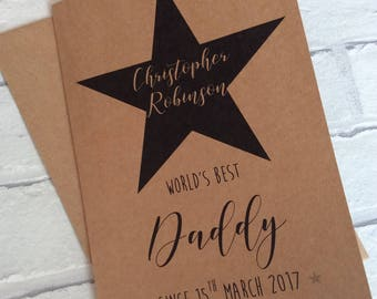 Handmade Personalised 1st First Fathers Day Card (World's Best Daddy Since...) Kraft Card