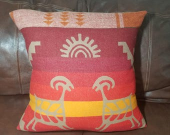 Sun and Sheep Red Pillow made with Pendleton® fabric