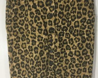 Vintage 90's Ralph Lauren leopard print button front skirt, size 14