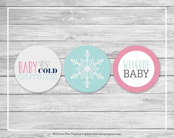 Winter Baby Shower Cupcake Toppers - Printable Baby Shower Cupcake Toppers - Baby It's Cold Outside Baby Shower - Cupcake Toppers - SP141