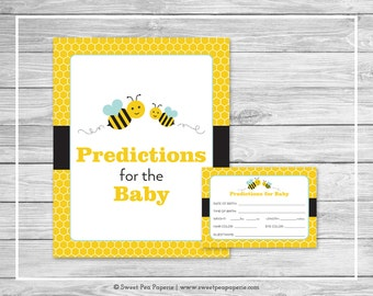 Bumble Bee Baby Shower Predictions for Baby - Printable Baby Shower Predictions for Baby - Bumble Bee Baby Shower - Baby Predictions - SP138