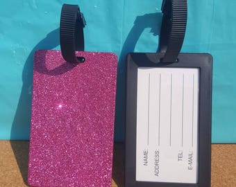 Glitter Luggage Tag, (Your Choice of Color), Luggage Tag, Suitcase Tag, Suitcase Label, Pink Luggage Tag, Purple Luggage Tag, Gold Tag