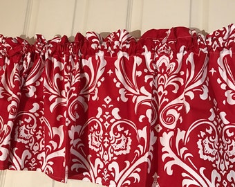 Red and white damask flower curtain valance