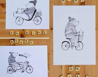3 Bears on Bike Prints