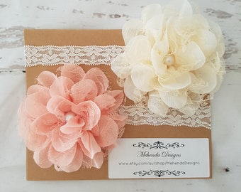 Twins headband set.Newborn headband. Baby girl headband. Lace headband. Flower headband