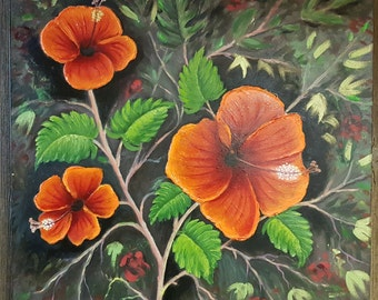 "Original Oil Painting on Canvas- ""Hippeastrum Equestre"""