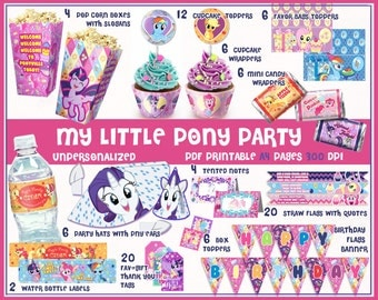 My Little Pony Birthday, Party printables, Decorations, party favors, party supplies, birthday banner, wrappers, Pinkie pie, kids party