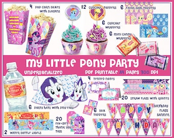 My Little Pony Party, Party printables, Pony birthday, party favors, supplies, birthday banner, Pinkie pie, kids party, labels, decorations